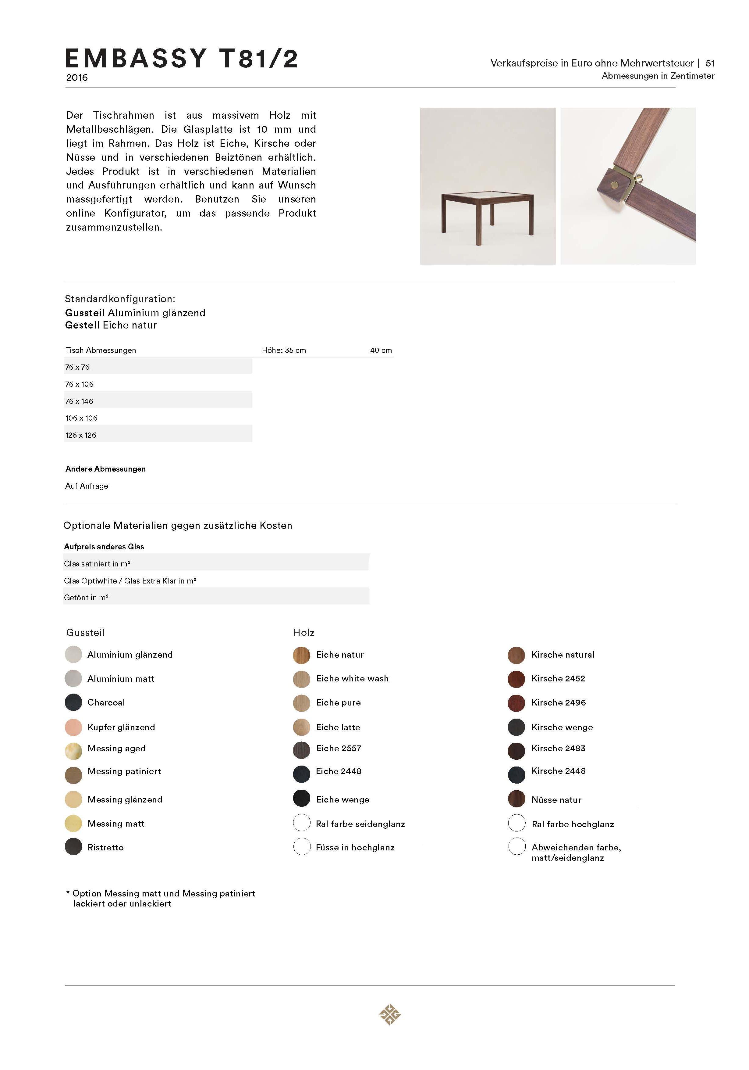 Tisch T81/2 | T81/2D Embassy von Ghyczy
