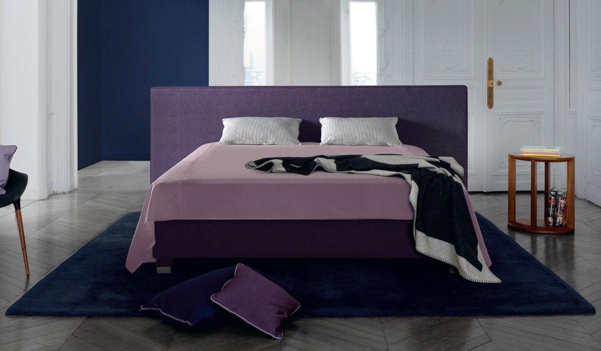 Treca Paris Boxspring Bett Mit Kopfteil Cube Wide In Violett